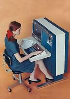 Vintage Photo ... Woman sitting at a 1967 Computer ... Vintage Photo Print 5X7