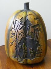 """Spooky Haunted House etched engraved burned wood decorative Halloween 7"""" Pumpkin"""