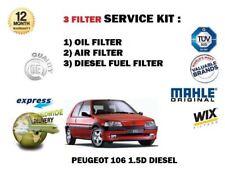 PER PEUGEOT 106+Furgone 1.5D D 9/1994-5/2003 NUOVO 3 FILTRI OLIO ARIA Carburante