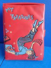 VINTAGE 1950s PONYTAIL TREASURE BOX- RED VINYL- RETRO MID CENTURY