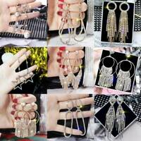 Geometric Crystal Tassel Drop Dangle Earrings Women Elegant Jewelry Wedding Gift
