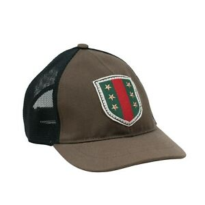 Gucci Military Green Red Black Mesh Canvas Adjustable Star Flag Hat Cap Size L