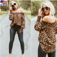 US Women Off Shoulder Long Sleeve Tops Ladies Leopard Print Blouse Loose T Shirt