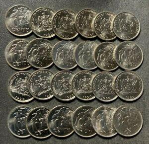 Old TRINIDAD Coin Lot - 10 CENTS - BU/UNC - 24 DEALER COINS - Lot #S19