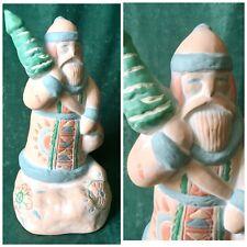 "Christmas Ceramic Southwest Music Box ""Santa Claus Is Coming To Town"" Sankyo"