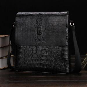 Alligator Men's Leather Messenger Bags Briefcase Shoulder Bag Crossbody Handbag