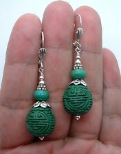 Exquisite Carved Green Cinnabar W. Green Turquoise Sterling Silver Earrings