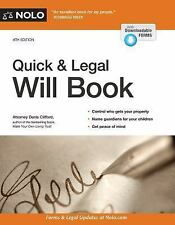 Quick & Legal Will Book by Denis Clifford (2017, Paperback)