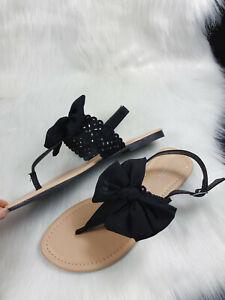 Primark Comfort Fit Sandalen Flip Flops 39 Schleife Spitze Glitzer Sommer Urlaub