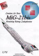 "zr72002/ Ze-Ro Decals - MiG-21bis - Kroatische Luftwaffe"" - 1/72"