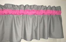 Bright Pink and Gray Window Curtain Valance Bath Bedroom Nursery Kids FREE SHIP