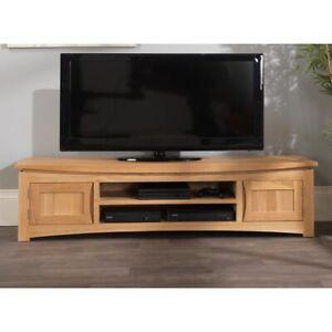 Crescent solid oak furniture large TV DVD cabinet stand unit