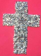 Crystal Rhinestone Iron On Cross Applique Christian Jesus DIY Patch Cluster