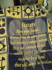 "throw afghan tapestry blanket sisters black and gold and white 47"" x 57"""