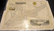 Antique Color Map West Canada 1850. Ontario Lake Eire Niagra Falls Frameable