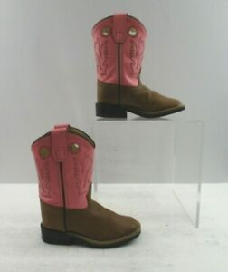 Girls Old West Pink / Brown Leather Square Toe Cowgirl Boots Size: 8