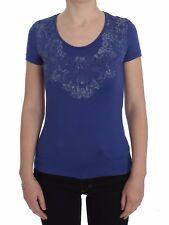 NUEVO ERMANNO SCERVINO Camiseta azul Modal Top Elástico Floral S. IT42 / US S