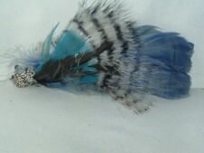 VINTAGE BLUE BLACK WHITE FEATHER HAIR CLIP UP DO HAIR ACCESSORY