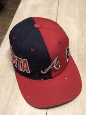 Atlanta Braves Hat Vintage 90s Snapback Big Logo Spellout Colorblock Vtg Wool