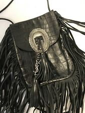 Yves Saint Laurent Black Anita Crossbody Fringed Embossed Croc Bag NWOT