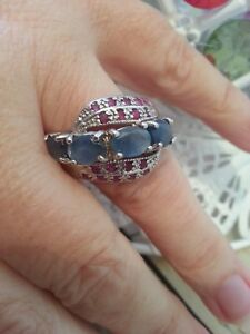 """Sapphire & Ruby """"Cross Over"""" Band / Cluster Style Silver Ring. Size T."""
