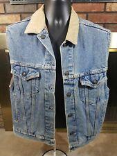 Vintage Levi's Snap Trucker Denim Jean Vest Mens Small Reversible Flannel Lined