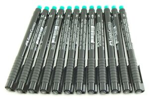 Faber Castell Lot of 12 MuliMark 1525 Black Permanent Marking Pens S F M Nibs
