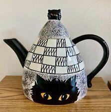 Cats By Nina Lyman Large Ceramic Black Cat Teapot black & white Euc!
