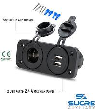 12V/24V USB Twin Dual Socket + Cigarette Lighter Socket + Double  Twin Plate