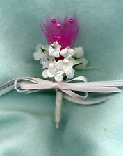 Bride Doll Bouquet - Small Iridescent White Flowers Fuchsia Tulle - Linhill