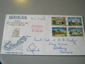 BERMUDA FDC 350th ANNIV. of PARLIAMENT SET of 4 STAMPS 12 OCT 1970