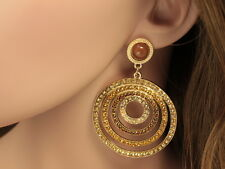 Fashion circles coffee brown sun crystal lucite beads dangling stud earrings A04