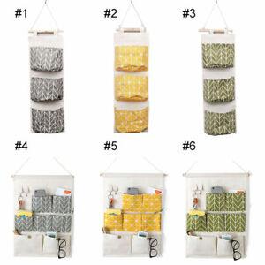 Pockets Cotton Linen Fabric Wall Door Hanging Bag Fabric Organizer Storage Pouch