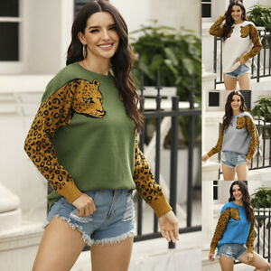 Women Leopard Print Pullover Casual Blouse Long Sleeve T Shirt Loose Sweater