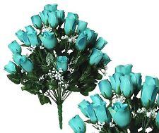 "24 Aqua Rosebud 24"" Lg Bouquet Home Office Wedding Party Decor Silk Flower"