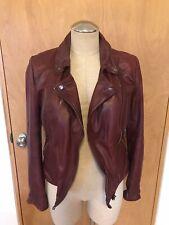 Free People Burgundy Lambskin Leather Moto Jacket, Sz 2