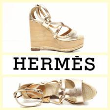 47d521104fbe Hermes  875 rose gold leather jute high wedge platform ankle strap  sandals~8