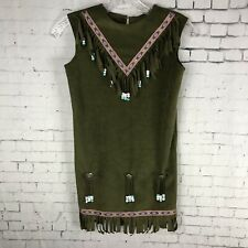 NATIVE AMERICAN COSTUME GIRL'S DRESS OLIVE GREEN BEADED FRINGE SMALL? NO TAG C13