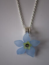 Ladies 17 inch Forget-Me-Not Necklace, Silver Plated - Blue Lucite Flowers