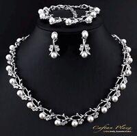 3 Tlg. Schmuckset Strass Perle Halskette Ohrringe Tropfen Silber Hochzeit
