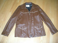 W.B. PLACE VINTAGE USA LEATHER JACKET COAT FRINGE BROWN BEIGE WHIP STITCHED 46