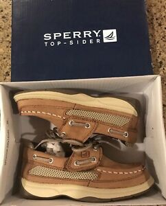 SPERRY Top Sider Lanyard A/C Boat Shoes CB48948A Tan/Navy Leather Boy's 9 M