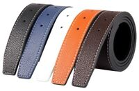 Mens Designer Reversible 38mm Luxury Stitched Leather Belt Strap No Buckle Q02
