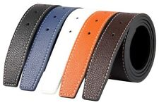 Mens Designer Reversible 38mm Luxury Stitched Leather Belt Strap No Buckle Q02
