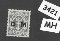 #3421  Danzig Germany MH Sc04  PF20 1921 Overprinted Official Free State Poland