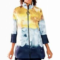 IC Collection Women's Jacket Yellow Size Medium M Painted Floral Zip $189- #083