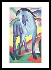 Franz Marc Blaues Pferd I Poster Bild Kunstdruck im Alu Rahmen schwarz 80x60cm