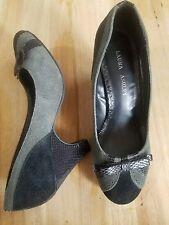 ✿ LAURA ASHLEY Harlow Lizard Bow Black & Charcoal Leather Suede Pumps 7M. EUC