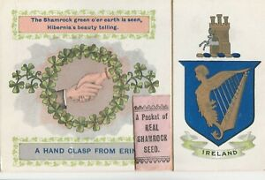 a irish life eire old postcard ireland with real shamrock seed st patricks day