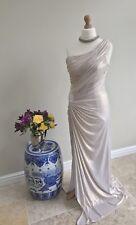 BiBA Grecian Draped Knot Gold One Shoulder Thigh Split Evening Gown Size 18